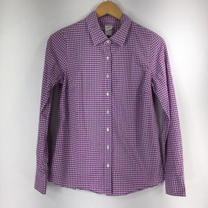 J Crew 2 Perfect Shirt Purple Check Plaid XS
